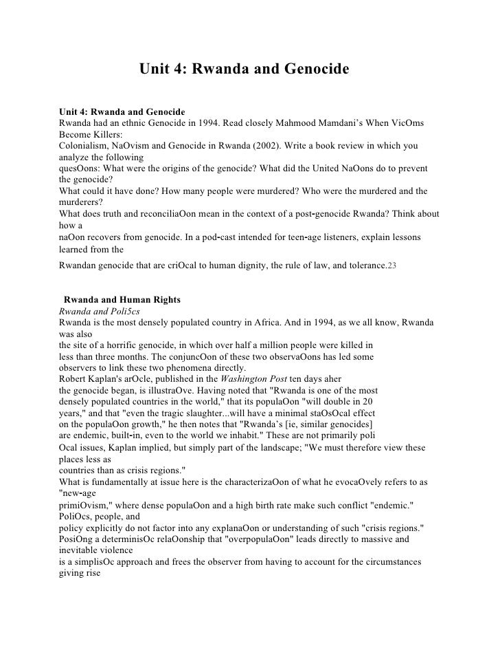 Analytical i Unit 4: Rwanda and Genocide ng: Ethics, Values & Effective Citizenship Unit 4: Rwanda and Genocide Rwanda had...
