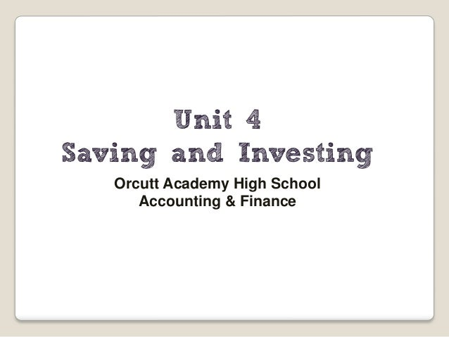 assignment 4 saving and investing Savings are the amount left over when the cost of a person's consumer expenditure is subtracted from the amount of disposable income that he or she earns.