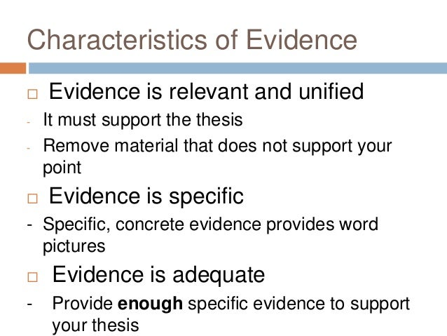 supporting thesis with evidence
