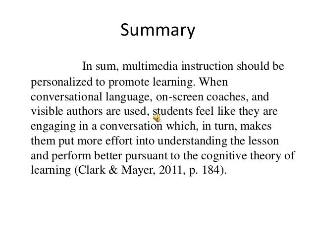 learning and instruction mayer