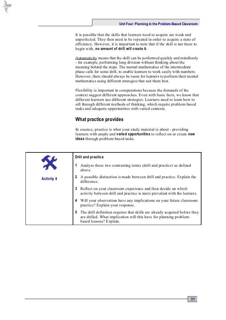 Ace Maths Unit Four: Planning in the Problem-Based Classroom (word)
