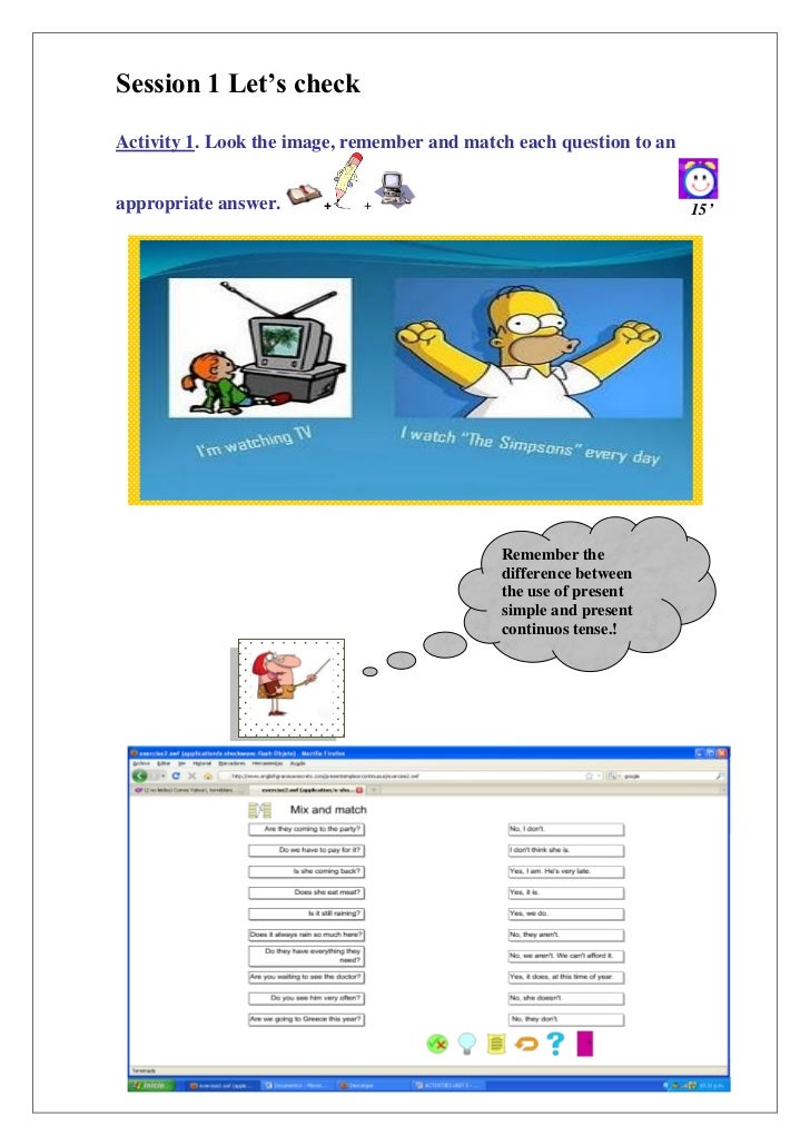 "Session 1 Let""s checkActivity 1. Look the image, remember and match each question to anappropriate answer.     +    +     ..."