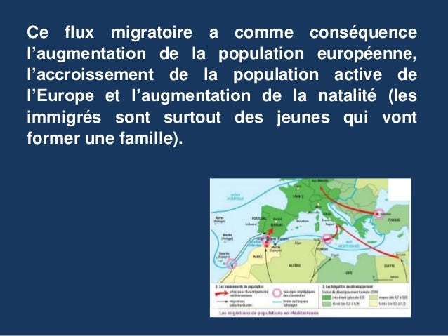 Ce flux migratoire a comme conséquence l'augmentation de la population européenne, l'accroissement de la population active...