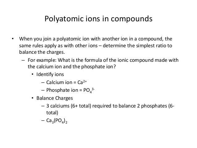 Po4 Charge: Unit 5 6 Polyatomic Ions
