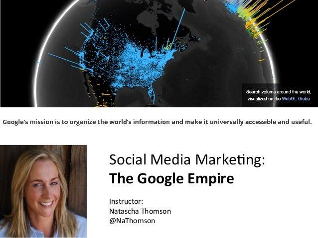 CnfidentialMarketingXLerator SocialMediaMarke-ng: TheGoogleEmpire  Instructor: NataschaThomson @NaThomson