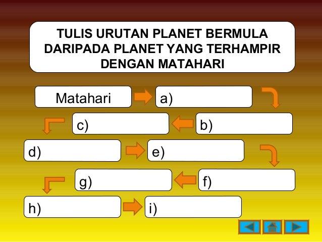 TULIS URUTAN PLANET BERMULA DARIPADA PLANET YANG TERHAMPIR DENGAN MATAHARI Matahari d) c) b) a) h) i) e) g) f)