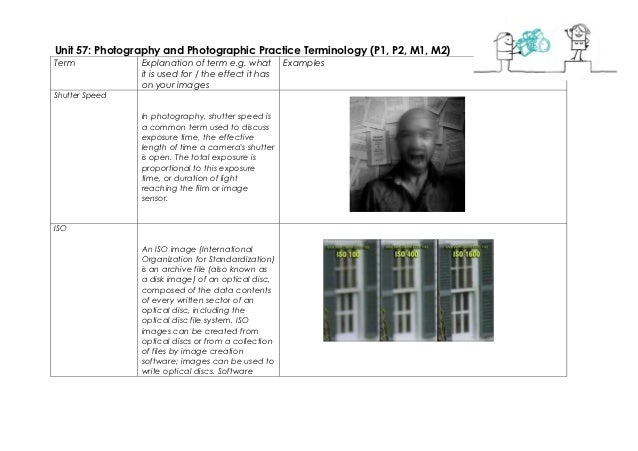 Unit 57: Photography and Photographic Practice Terminology (P1, P2, M1, M2)Term            Explanation of term e.g. what  ...