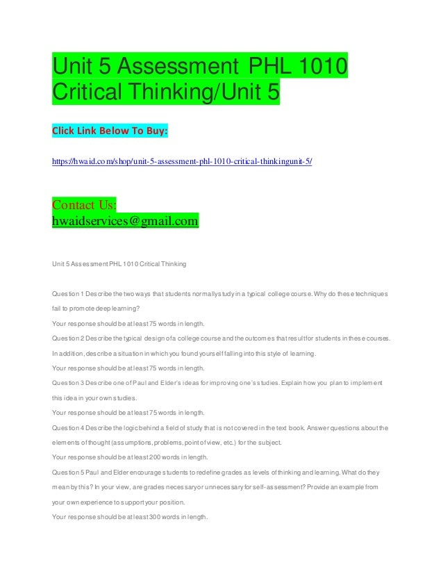 critical thinking phl 1010