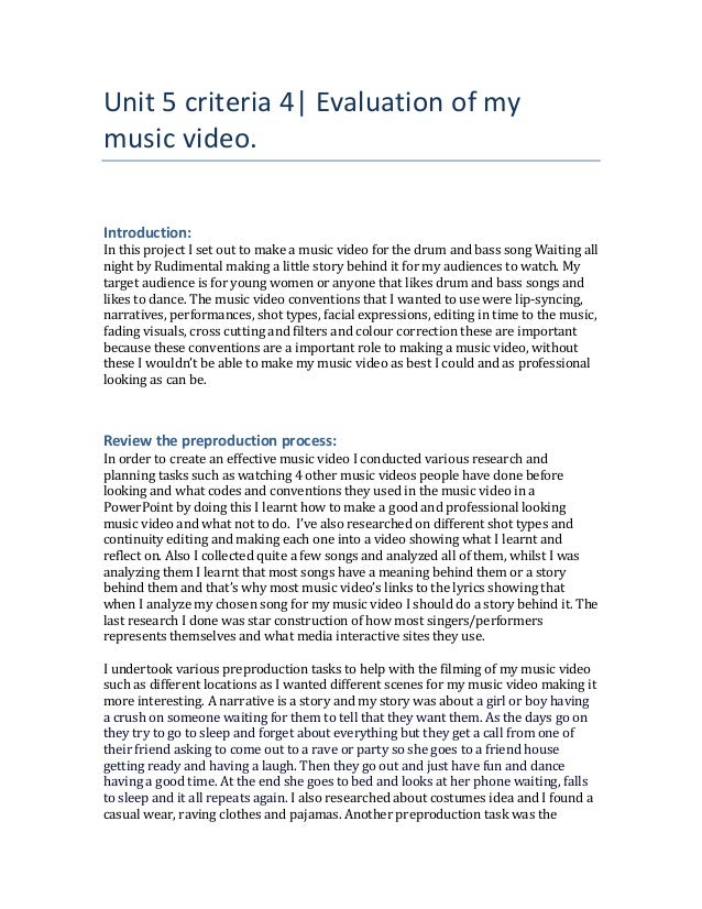 Unit 5 criteria 4| Evaluation of my music video. Introduction: In this project I set out to make a music video for the dru...