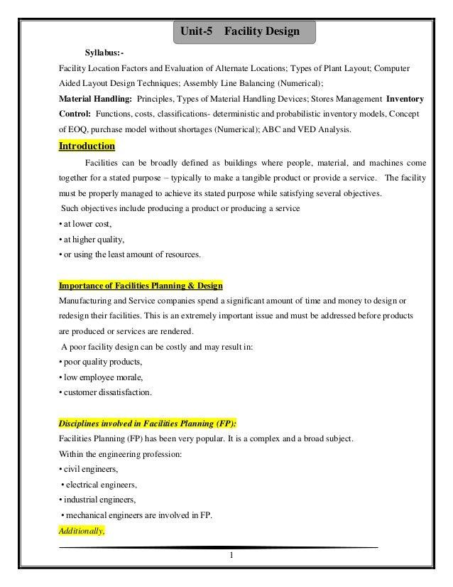 Industrial Engineering Unit 5 Facility Design Notes By Badebhau