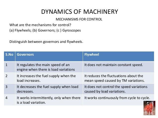 DYNAMICS OF MACHINERY MECHANISMS FOR CONTROL What are the mechanisms for control? (a) Flywheels; (b) Governors; (c ) Gyros...