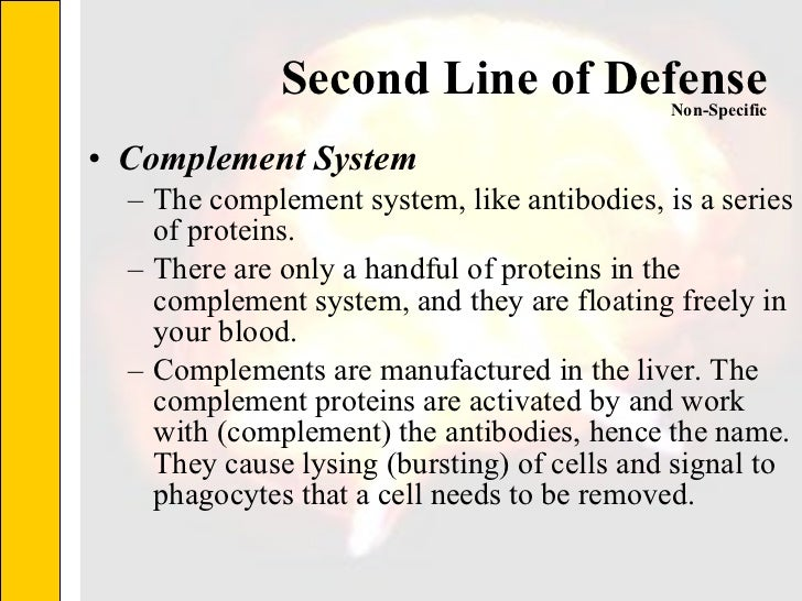 Second Line of Defense <ul><li>Complement System </li></ul><ul><ul><li>The complement system, like antibodies, is a series...