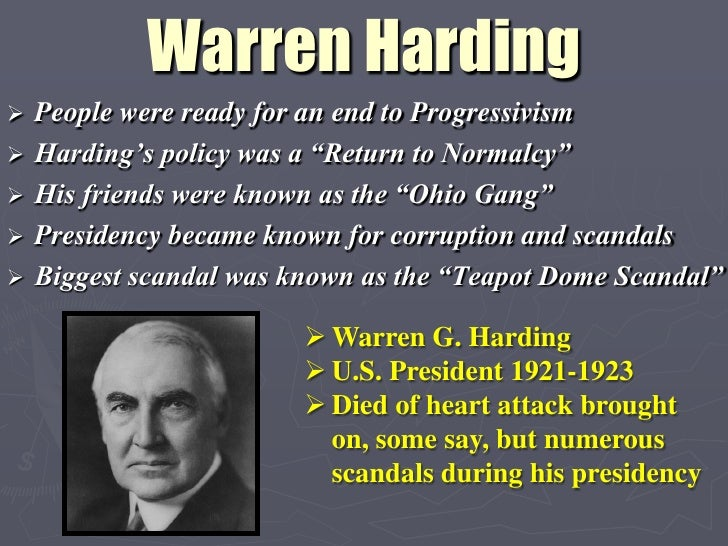 Warren g hardings domestic policy of normalcy