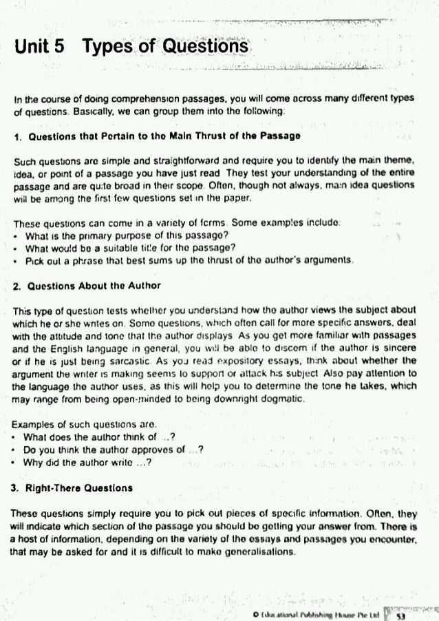 Worksheets English Compherishion comprehension skills question types english types