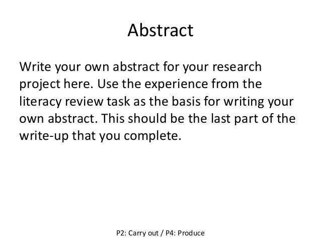 ... 4. Abstract Write Your Own Abstract For Your Research Project ...