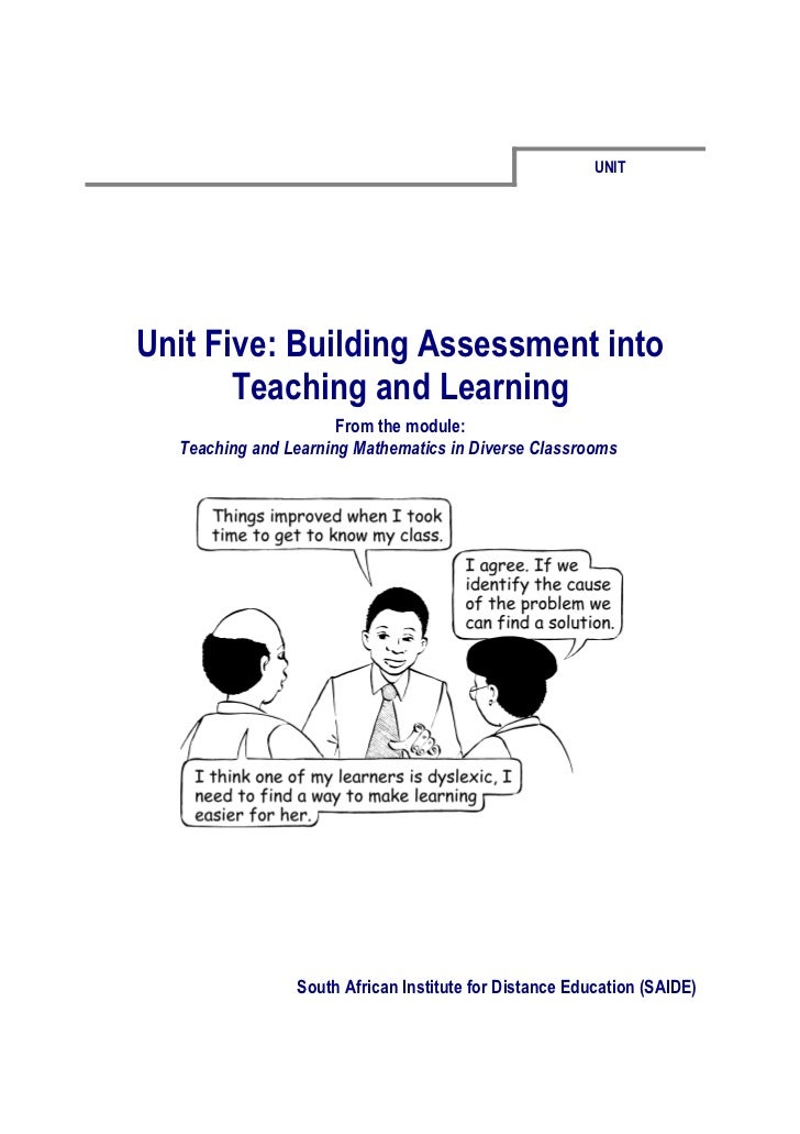 UNITUnit Five: Building Assessment into       Teaching and Learning                      From the module:  Teaching and Le...