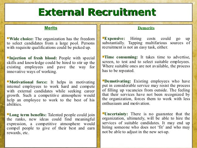 3-18External RecruitmentExternal RecruitmentMeritsWide choice: The organization has the freedomto select candidates from ...