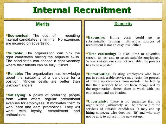 3-19Internal RecruitmentInternal RecruitmentMeritsEconomical: The cost of recruitinginternal candidates is minimal. No ex...
