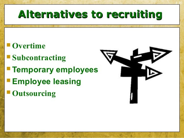 3-20Alternatives to recruitingAlternatives to recruiting Overtime Subcontracting Temporary employees Employee leasing...
