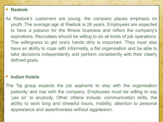 3-24 Reebok:As Reebok's customers are young, the company places emphasis onyouth. The average age at Reebok is 26 years. ...