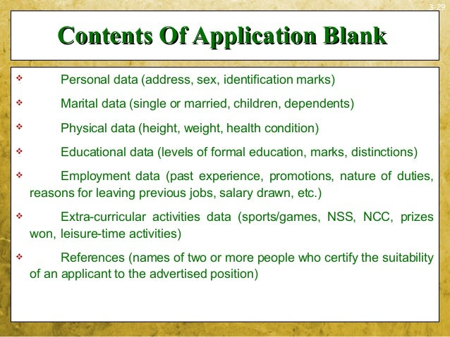 3-29Contents Of Application BlankContents Of Application Blank Personal data (address, sex, identification marks) Marita...