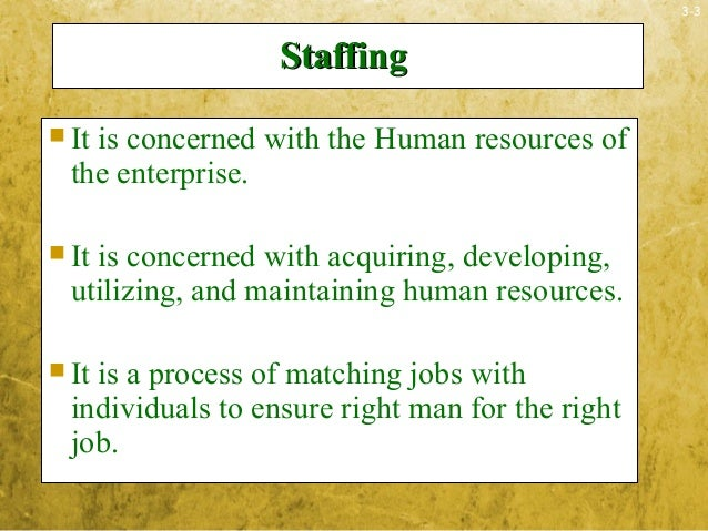 3-3StaffingStaffing It is concerned with the Human resources ofthe enterprise. It is concerned with acquiring, developin...
