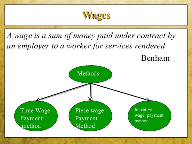 3-57WagesWagesA wage is a sum of money paid under contract byan employer to a worker for services renderedBenhamTime WageP...