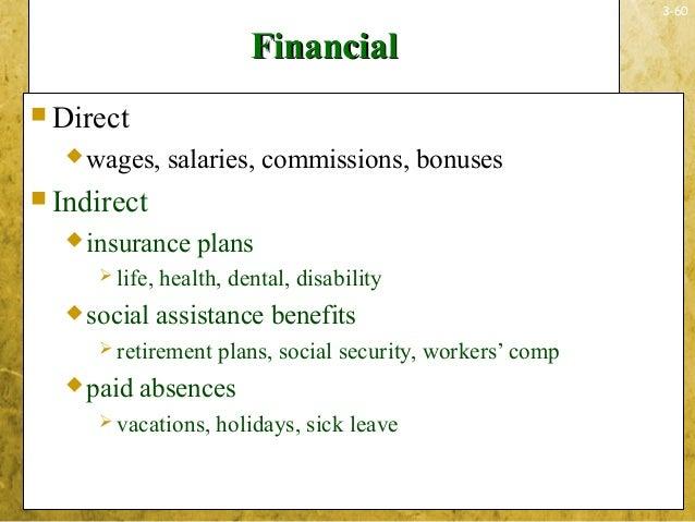 3-60FinancialFinancial Directwages, salaries, commissions, bonuses Indirectinsurance plans life, health, dental, disa...