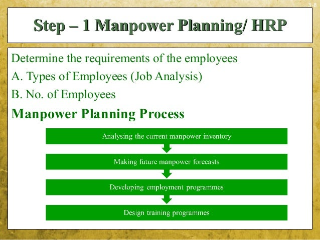 3-8Step – 1 Manpower Planning/ HRPStep – 1 Manpower Planning/ HRPDetermine the requirements of the employeesA. Types of Em...