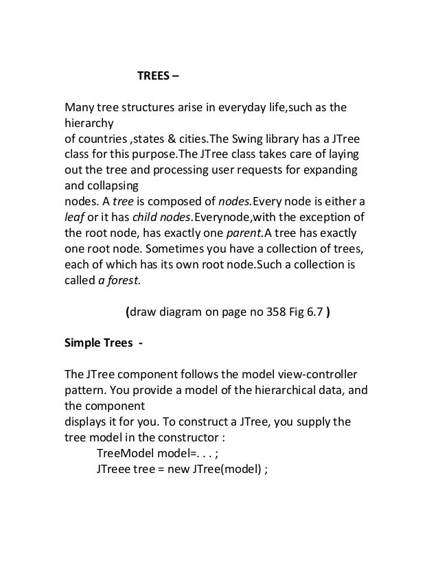 TREES –Many tree structures arise in everyday life,such as thehierarchyof countries ,states & cities.The Swing library has...