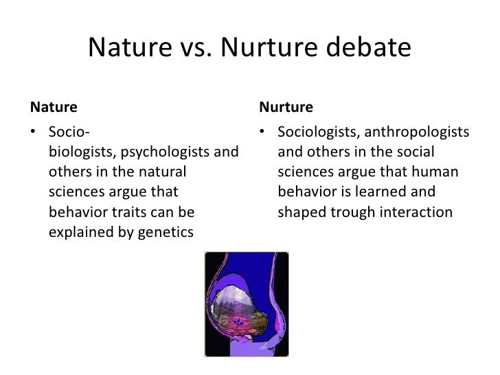 the debate over the importance of nature versus nurture