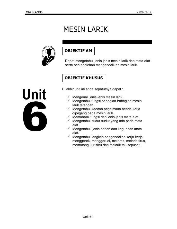 MESIN LARIK                                                  J 1003 / 6/ 1                     Dapat mengetahui jenis-jeni...