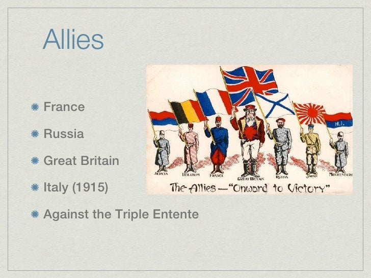 AlliesFranceRussiaGreat BritainItaly (1915)Against the Triple Entente