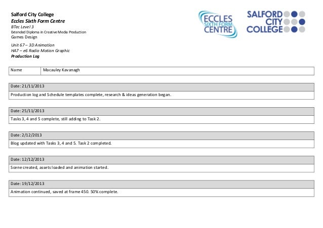 Salford City College Eccles Sixth Form Centre BTec Level 3 Extended Diploma in Creative Media Production  Games Design  Un...