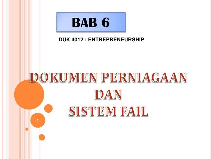BAB 6    DUK 4012 : ENTREPRENEURSHIP1