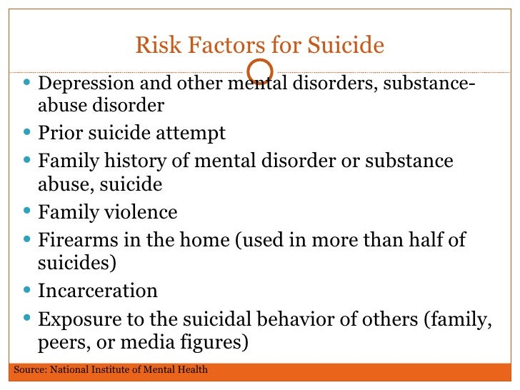 the risk factors associated with suicidal ideation and attempts Suicide, suicide attempts, and ideation suicide risk begins early in the course of life and increases in • monitor factors associated with suicidal behavior.