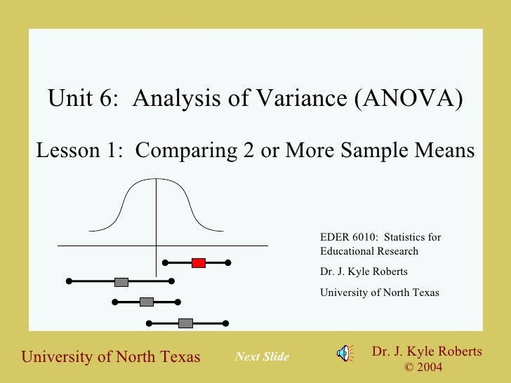 Unit 6:  Analysis of Variance (ANOVA) Lesson 1:  Comparing 2 or More Sample Means EDER 6010:  Statistics for Educational R...