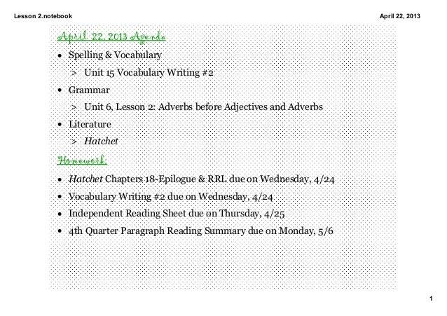 Lesson2.notebook1April22,2013April 22, 2013 Agenda• Spelling&Vocabulary> Unit15VocabularyWriting#2• Grammar> Uni...
