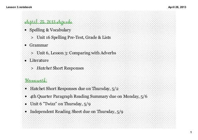 Lesson3.notebook1April28,2013April 25, 2013 Agenda• Spelling&Vocabulary> Unit16SpellingPreTest,Grade&Lists• ...