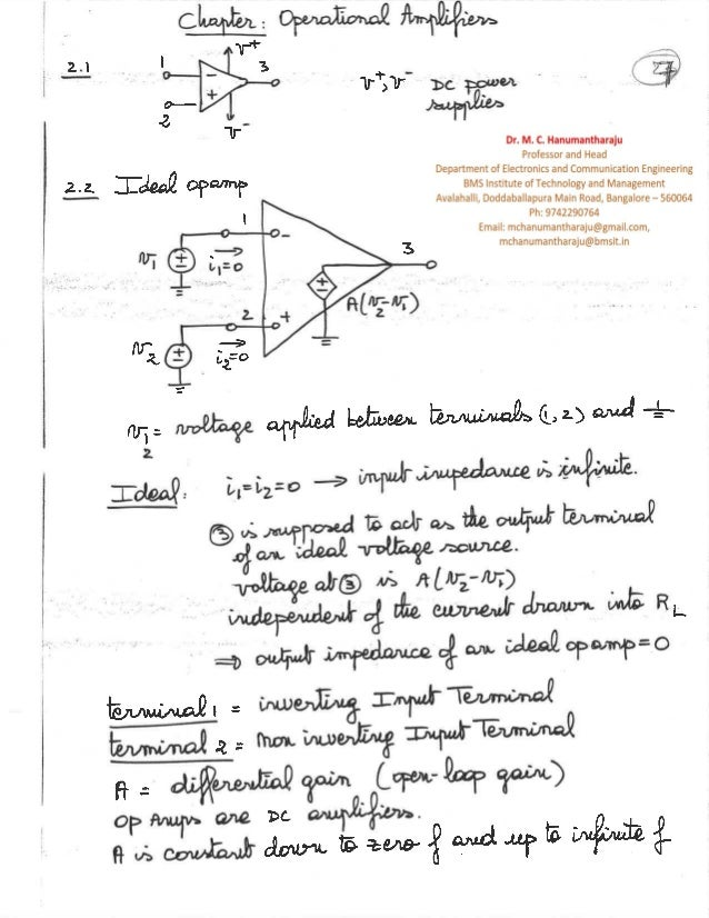 Unit 6 Operational Amplifiers Notes by Dr  M  C  Hanumantharaju of BM…