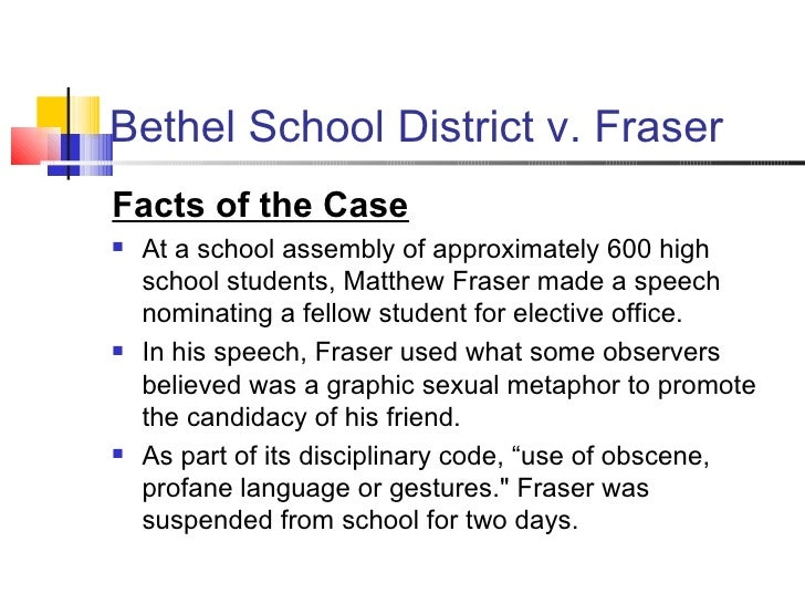 bethel v fraser Bethel school district v fraser in fraser, a high school student was disciplined following his speech to a school assembly at which he nominated a fellow student.