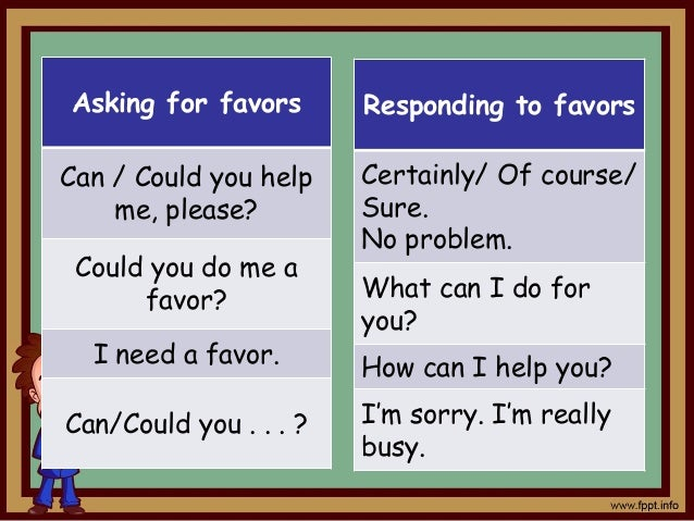 Offering assistance May I help you? Do you need any help? Let me help you. Responding to assistance Yes/No. Thank you. Yes...