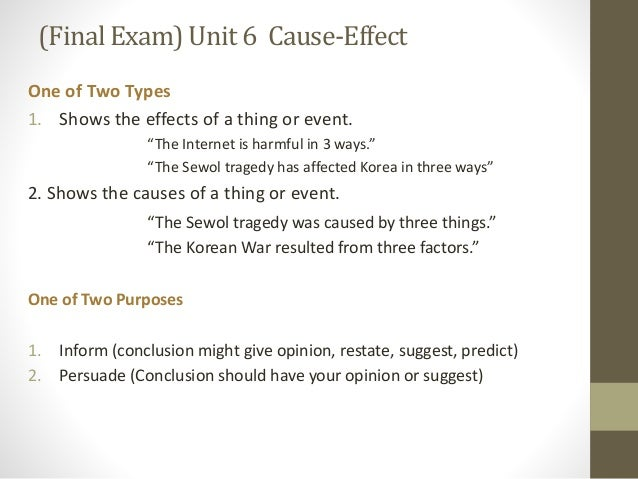 cause and effect essay 6 essay Structure of the cause and effect essay which is prepared for those who prepare for english test in their universities.