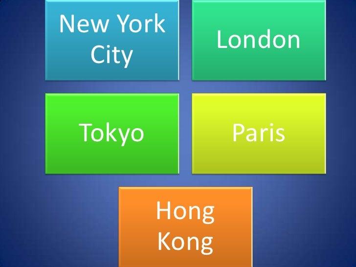 New York                London  City Tokyo           Paris         Hong         Kong