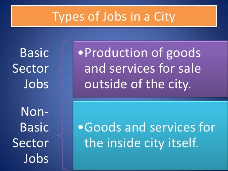 Types of Jobs in a City Basic       •Production of goodsSector        and services for sale  Jobs        outside of the ci...