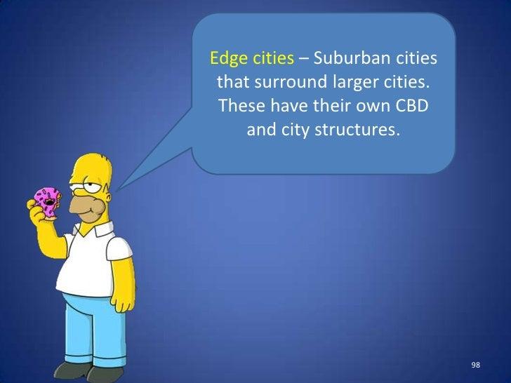 Urban Sprawl– Theprogressive development of     suburban areas.                             101