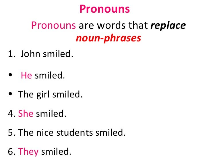 Pronouns <ul><li>Pronouns  are words that  replace  noun-phrases </li></ul><ul><li>John smiled. </li></ul><ul><li>He  smil...