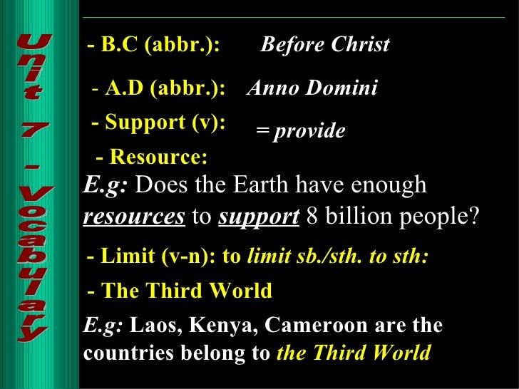 unit 7 world population writing a book