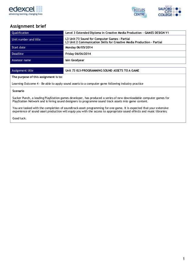 1 Assignment brief Qualification Level 3 Extended Diploma in Creative Media Production – GAMES DESIGN Y1 Unit number and t...