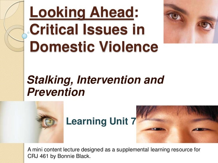 Looking Ahead:Critical Issues in Domestic Violence<br />Stalking, Intervention and Prevention<br />Learning Unit 7<br />A ...